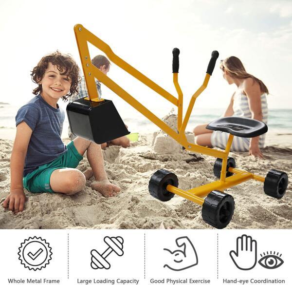 Kids Ride On Sandbox Digger Toys Little Sandbox Excavator for Boys and Girls, Yellow 3 17