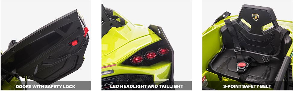 12V Licensed Lamborghini Sian Children's Electric Ride On Car, Green 3 17