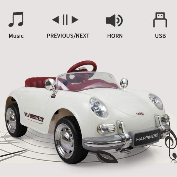Vintage Style Battery Powered Kids Ride on Car with Remote Control, White 3 18