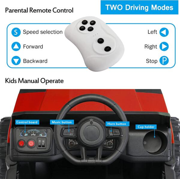 12V Electric Truck for Kids with Remote Control Ride On Toy with Trailer, Red 3 19