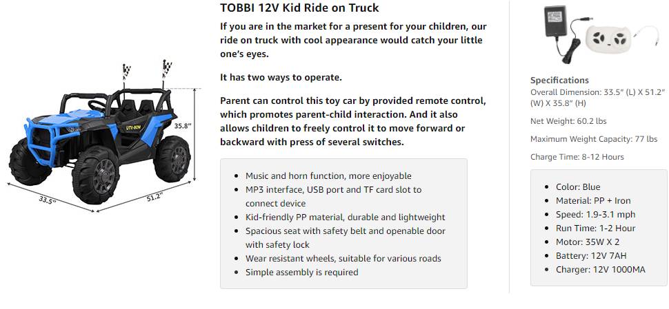 12V Powerful Kids Truck Ride on 2-Seater Battery Car for Child 3 22