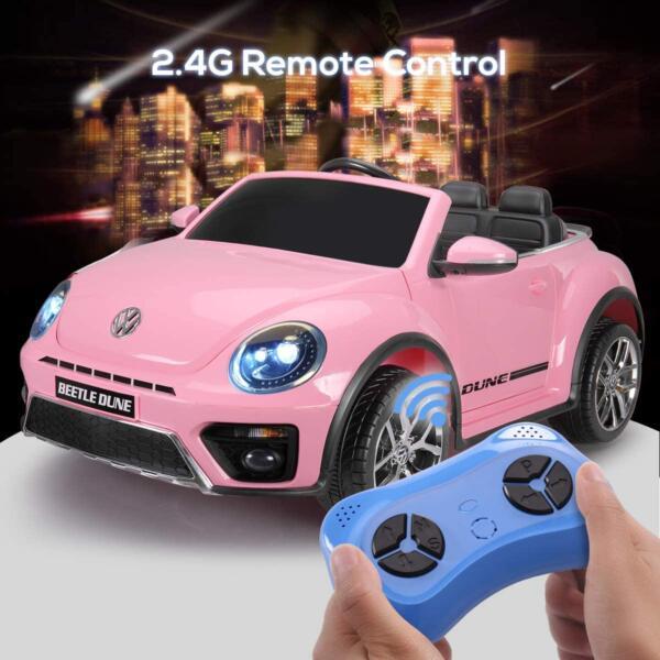 12V Licensed Volkswagen Beetle Dune Kids Electric Car with Remote Control, Pink 3 24