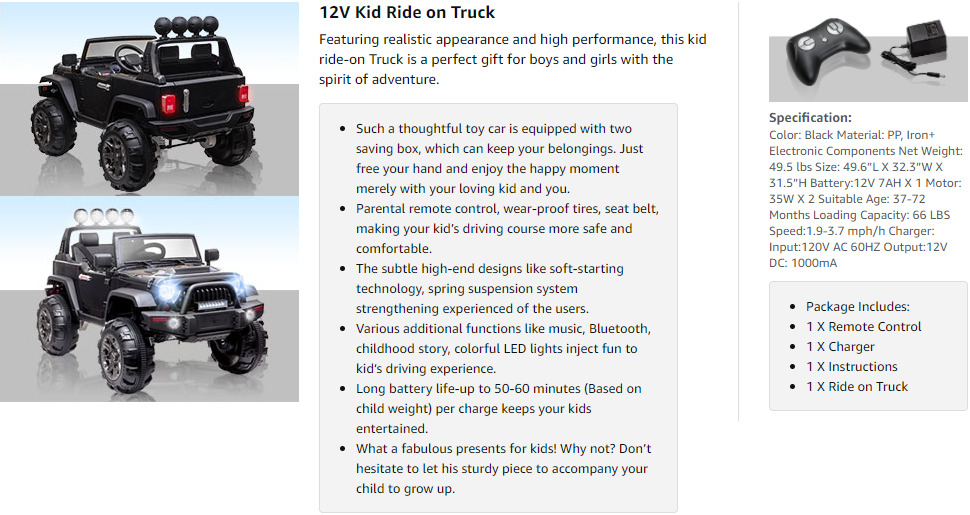 12V Battery Operated Kids Ride On Truck with Remote Control, Black 3 25 1
