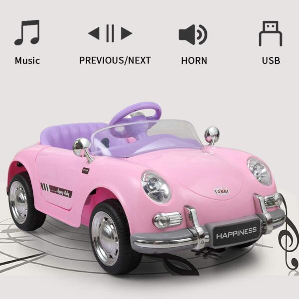 Vintage Style Battery Powered Kids Ride on Car with Remote Control, Pink 3 25