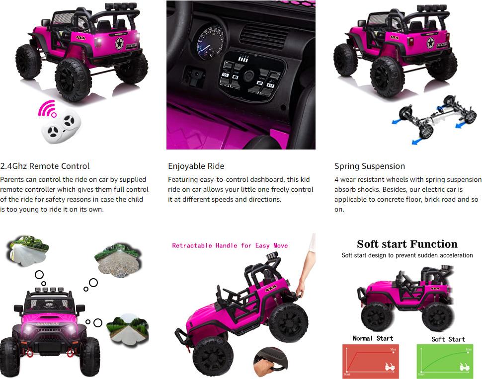 12V Powerful Ride On Truck Jeep Wrangler for Kids 3 26 2