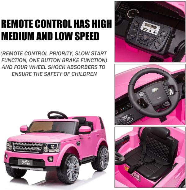 12V Licensed Land Rover Power Wheels Ride on SUV for Kids with Remote Control, Pink 3 27