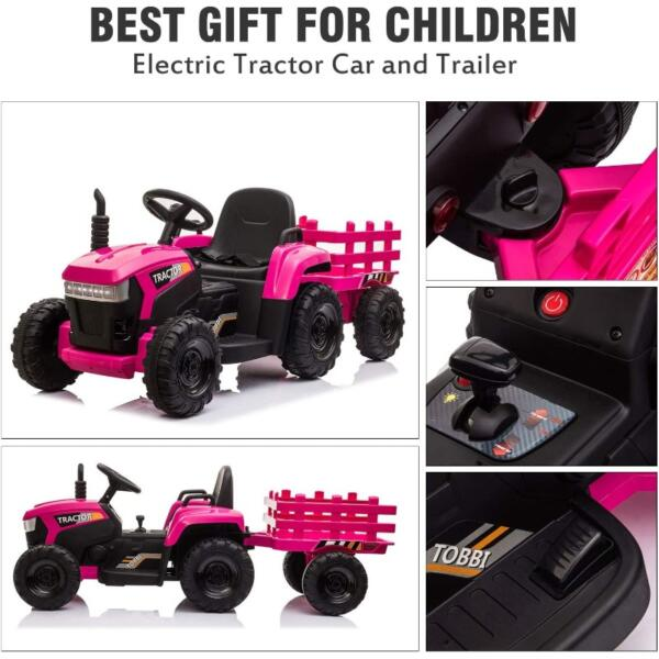 12V Battery-Powered Toy Tractor with Trailer and LED Lights 3 37
