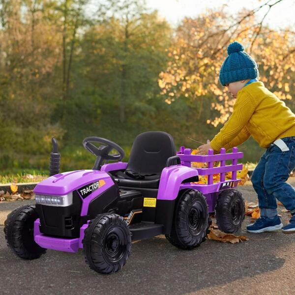 12V Battery-Powered Electric Tractor Kids Ride on Toy Gift, Purple 3 42