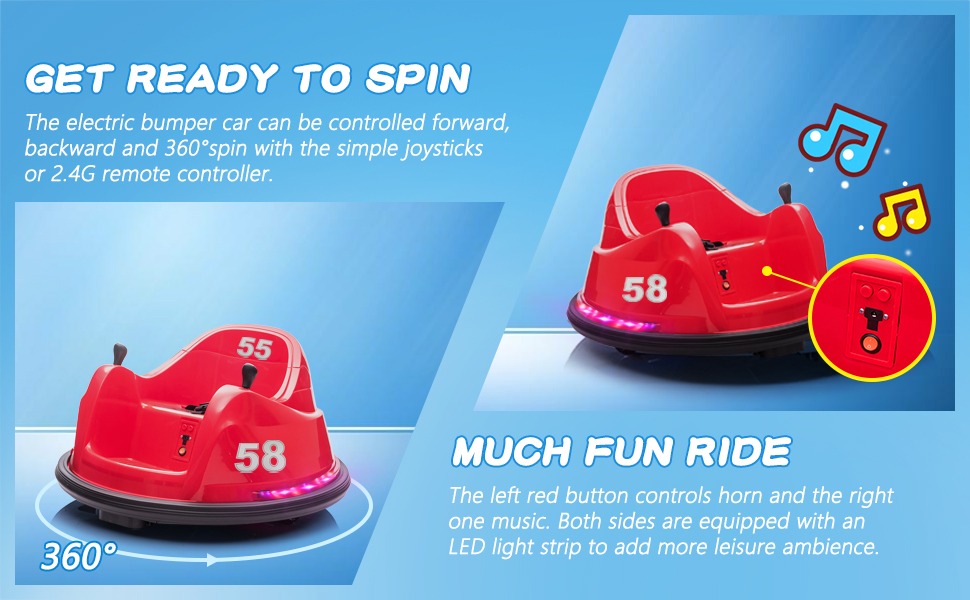 6V Electric Ride On 360 Spin Bumper Car for Kids with Remote Control, Red 3 43