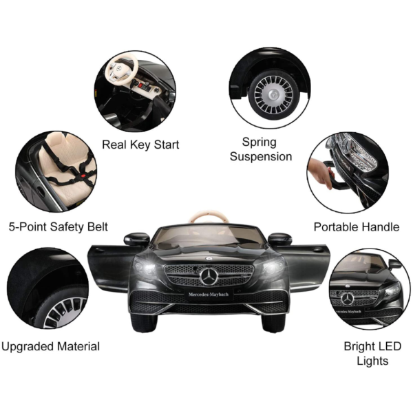 TOBBI 12V Ride on Car with Remote Control, Mercedes-Maybach S650 Electric Ride on Vehicles Cars for Kids w/ MP3 Bluetooth, Black 3 5