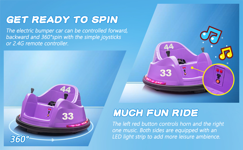 Kid's Electric Ride On 360 Spin Bumper Car with Remote Control, Purple 3 54