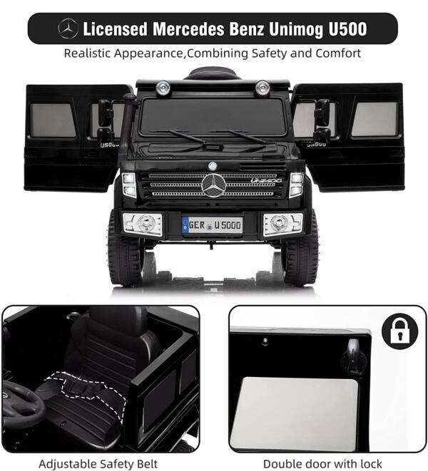6V Mercedes Benz Unimog U500 Kids Ride on SUV Car with Remote Control, Black 3 83