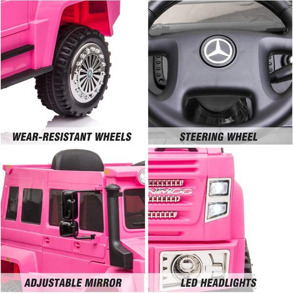6V Mercedes Benz Unimog U500 Kids Ride on SUV Car with Remote Control, Rose Red 3 87