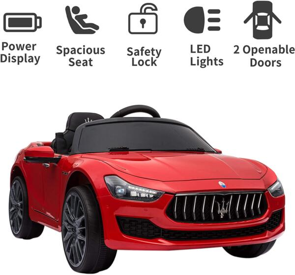 Maserati Kids Car 12V Ride On With Remote, Red 3 89