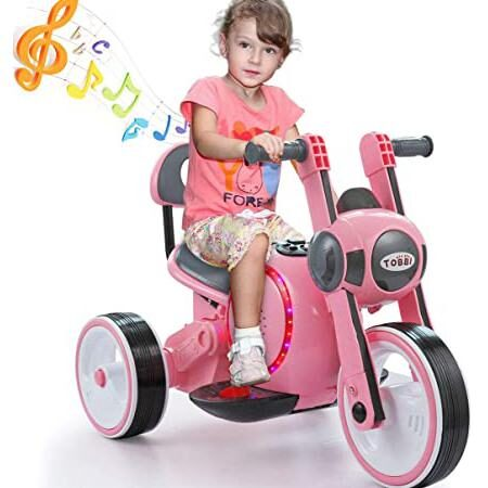 A pink electric kids motorcycle gift for girls with LED