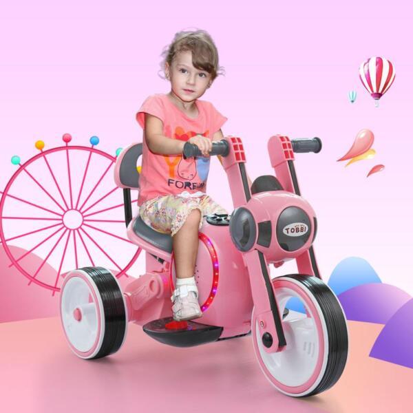 3 Wheel Motorcycle Trike for Toddler W/ LED 3 wheel led motorcycle trike for toddler pink 12