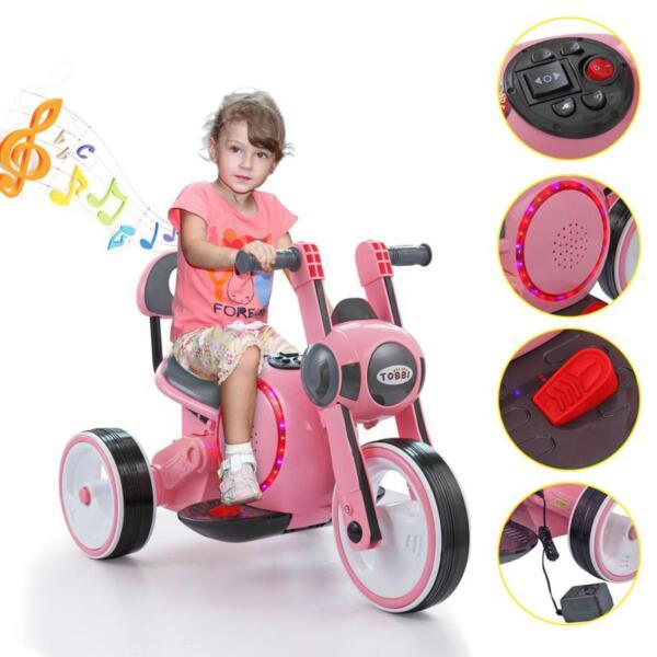 3 Wheel Motorcycle Trike for Toddler W/ LED 3 wheel led motorcycle trike for toddler pink 14