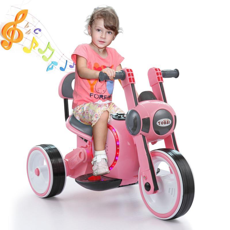 3 Wheel Motorcycle Trike for Toddler W/ LED 3 wheel led motorcycle trike for toddler pink 9 1