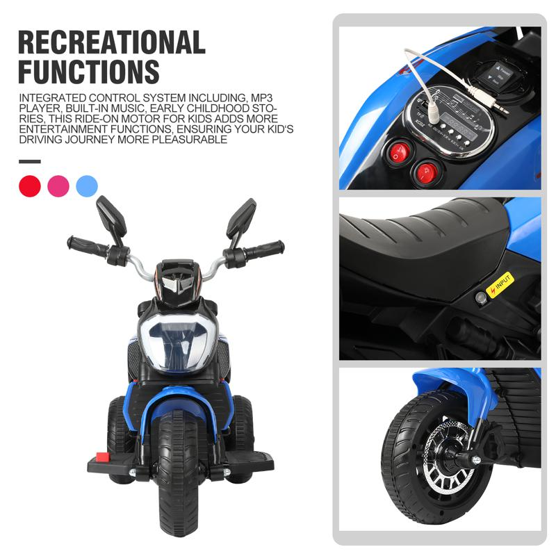 3 Wheel Motorcycle for Kids, Blue 3 wheeled motorcycle blue 31 2