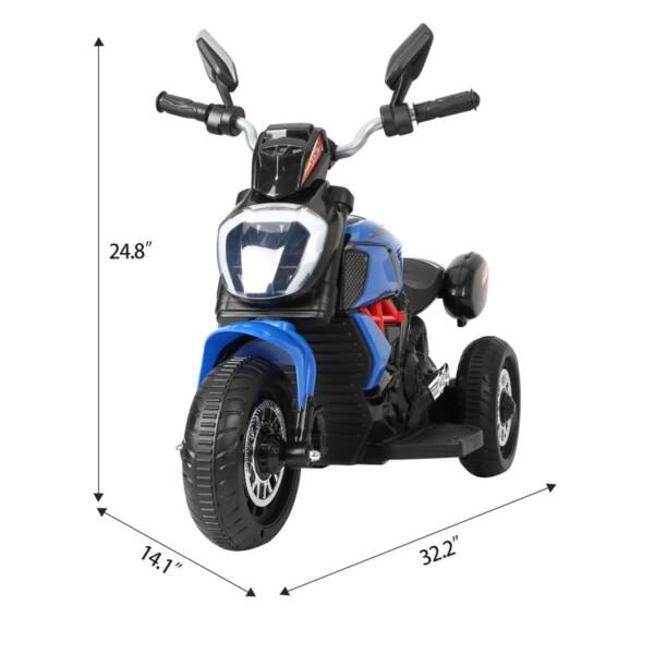 3 Wheel Motorcycle for Kids, Blue 3 wheeled motorcycle blue 7