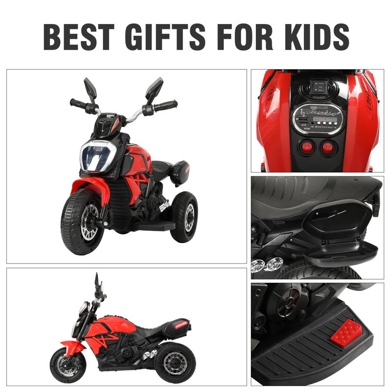 3 Wheel Motorcycle for Kids, Red 3 wheeled motorcycle red 26 2