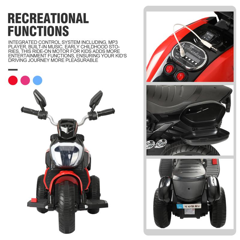 3 Wheel Motorcycle for Kids, Red 3 wheeled motorcycle red 28 1