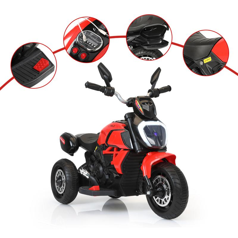3 Wheel Motorcycle for Kids, Red 3 wheeled motorcycle red 32 2