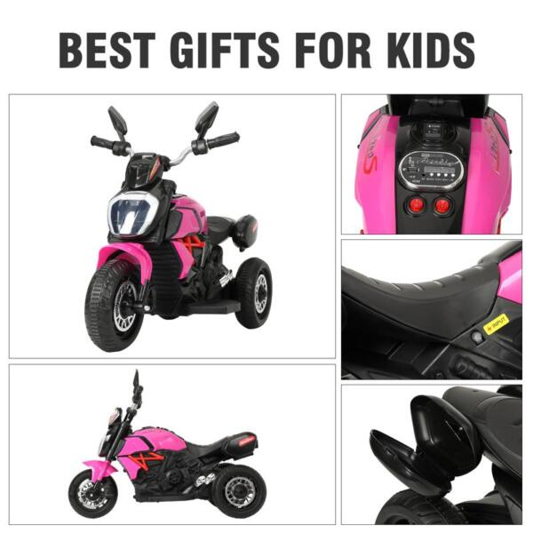 3 Wheel Motorcycle for Kids, Rose Red 3 wheeled motorcycle rose red 27