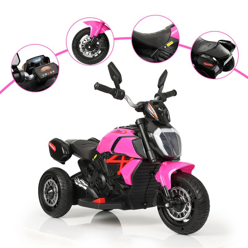 3 Wheel Motorcycle for Kids, Rose Red 3 wheeled motorcycle rose red 30 2