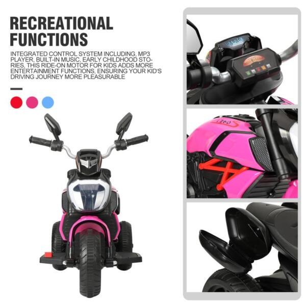 3 Wheel Motorcycle for Kids, Rose Red 3 wheeled motorcycle rose red 31 1