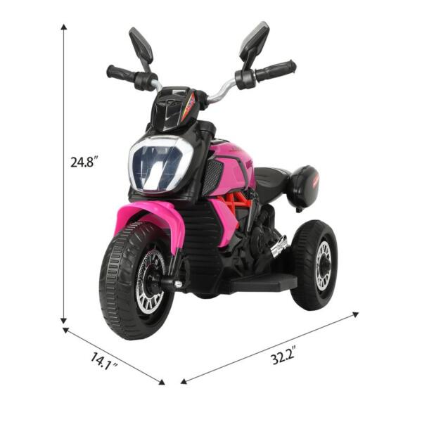 3 Wheel Motorcycle for Kids, Rose Red 3 wheeled motorcycle rose red 8