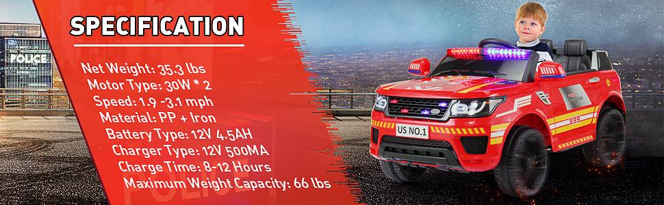 12V Kid's Electric Police Car Ride on, Red 32821519 a8b6 4410 b173 5de64628af08. CR00970300 PT0 SX970 V1