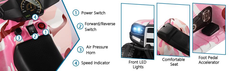12V Electric Ride On Kids ATV, Pink 38