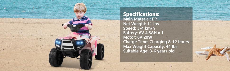 12V Electric Ride On Kids ATV, Pink 39