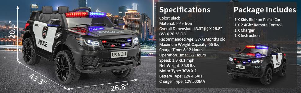 12V Kids Ride On Police Car, Black 3fe80c0c 9fc8 4b52 b027 cde1d12c2931. CR00970300 PT0 SX970 V1