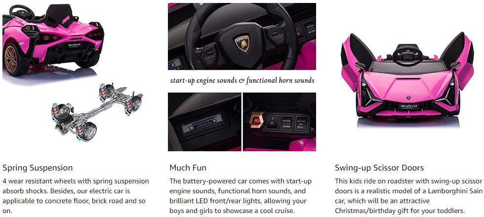 12V Kids Car Licensed Lamborghini Sian with Remote Control for Girls 4 10