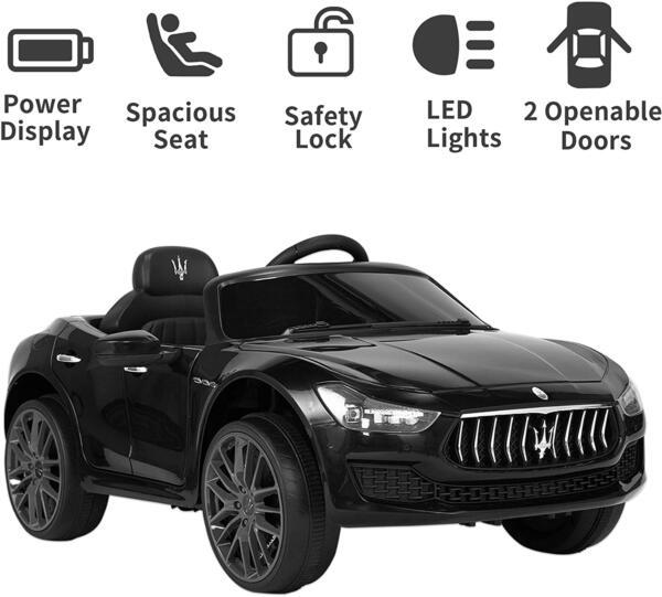 Maserati Kids Car 12V Ride On With Remote, Black 4 101