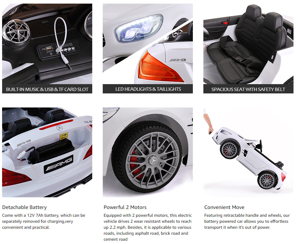 12V Mercedes Benz 2 Seater Kids Power Wheels With Remote, White 4 14 1
