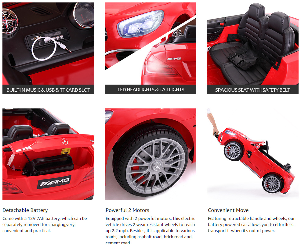 12V Mercedes Benz 2 Seater Kids Power Wheels With Remote, Red 4 14 2
