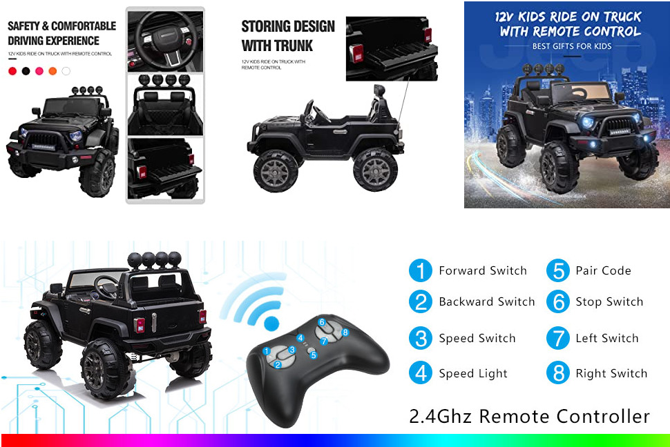 12V Battery Operated Kids Ride On Truck with Remote Control, Black 4 14 3