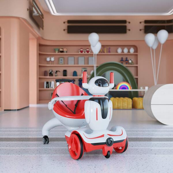 Three-in-one Robot Kids Electric Buggy With Baby Carriages, Red + White 4 14