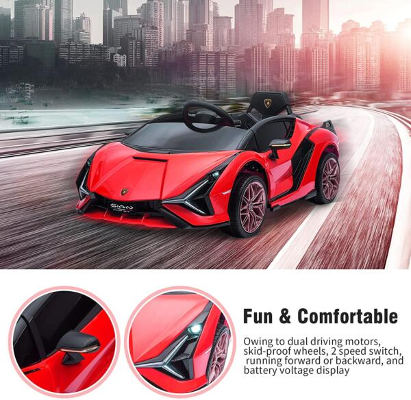 12V Lamborghini Sian Electric Kids Ride On Car with Remote Control, Red 4 21