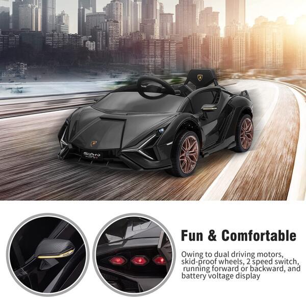 12V Lamborghini Sian Ride on Kids Electric Car with Remote Control, Black 4 24