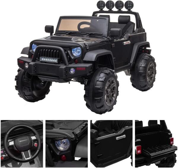 12V Battery Operated Kids Ride On Truck with Remote Control, Black 4 26