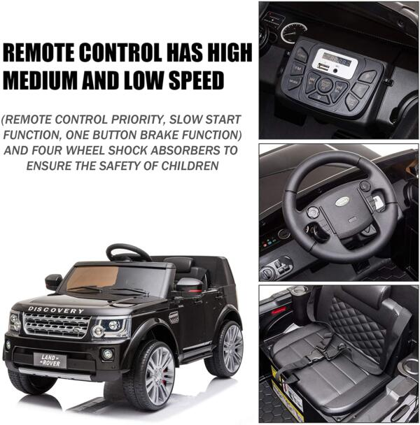 12V Licensed Land Rover Power Wheels Ride on SUV for Kids with Remote Control, Black 4 27