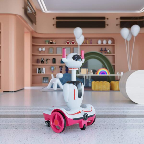 Three-in-one Robot Kids Electric Buggy With Remote Control & Baby Carriages, Rose Red + White 4 28