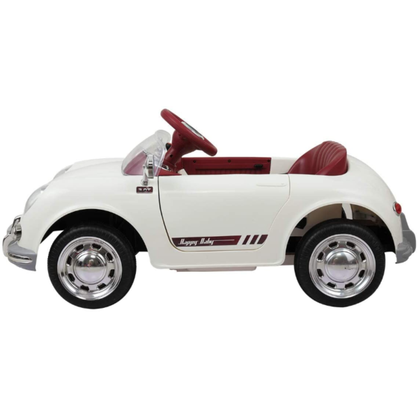 Vintage Style Battery Powered Kids Ride on Car with Remote Control, White 4 3