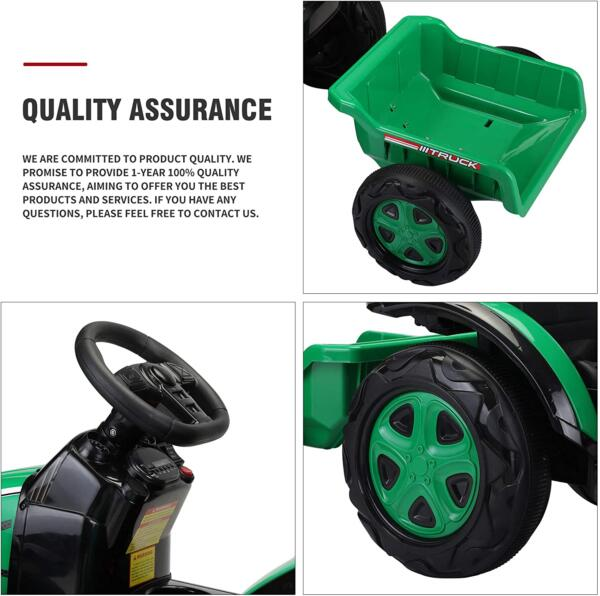 12V Electric Kids Ride on Tractor with Trailer for Boys and Girls, Jade Green 4 32