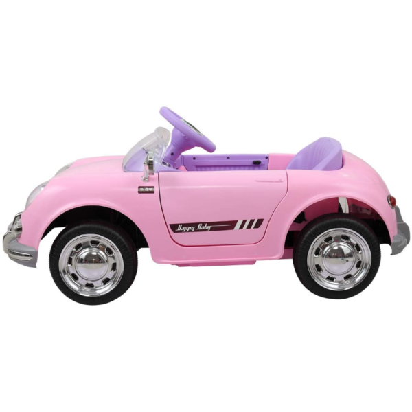 Vintage Style Battery Powered Kids Ride on Car with Remote Control, Pink 4 4