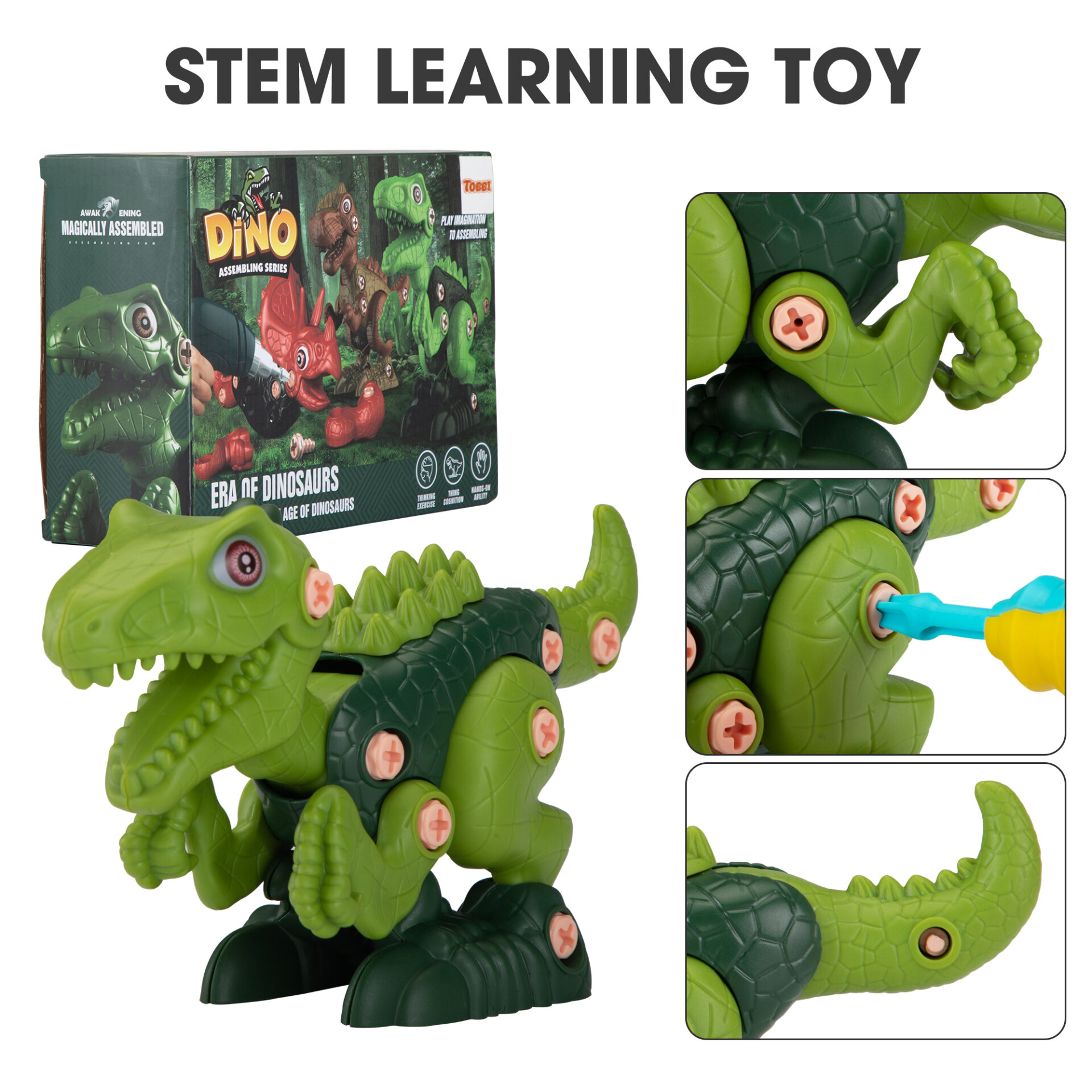 3 Packs Dinosaurs Construction Building Toy Set 4 4